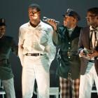 Left-right: Forrest McClendon (Deputy Tambo), Kyle Scatliffe (Haywood Patterson), Colman Domingo (Sheriff Bones) and Adebayo Bolaji (Preacher).  Photo by Richard Hubert Smith.