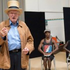 Julian Glover (The Interlocutor), Carl Spencer (Andy Wright) and Idriss Kargbo (Eugene) in The Scottsboro Boys rehearsals. Photo by Paul Kolnik.