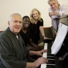John Kander (music), Kyle Scatliffe (Haywood Patterson), Susan Stroman (direction/choreography) and David Thompson (book). Photo by Paul Kolnik.