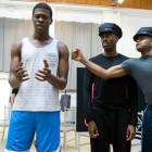 Adebayo Bolaji (Clarence Norris), Kyle Scatcliffe, Colman Domingo (Mr Bones) and Forrest McClendon (Mr Tambo) in The Scottsboro Boys rehearsal. Photo by Richard Hubert Smith.