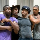 James T Lane (Ozie, Ruby) Colman Domingo (Mr Bones), Forrest McClendon (Mr Tambo) and Christian Dante White (Charles Weems) in The Scottsboro Boys rehearsals. Photo byRichard Hubert Smith.