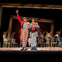Colman Domingo (Mr Bones), Forrest McClendon (Mr Tambo) and The Scottsboro Boys Company. Photo by Johan Persson