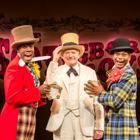 Colman Domingo (Mr Bones), Julian Glover (The Interlocutor) and Forrest McClendon (Mr Tambo). Photo by Johan Persson