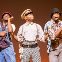 James T Lane (Ozie Powell/Ruby Bates), Forrest McClendon (Mr Tambo) and Dex Lee (Charles Weems/Victoria Price). Photo by Johan Persson