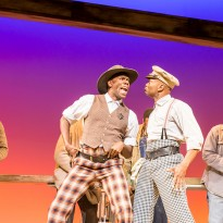 Joshua Da Costa (Roy Wright), Colman Domingo (Mr Bones), Forrest McClendon (Mr Tambo) and Emile Ruddock (Willie Roberson). Photo by Johan Persson